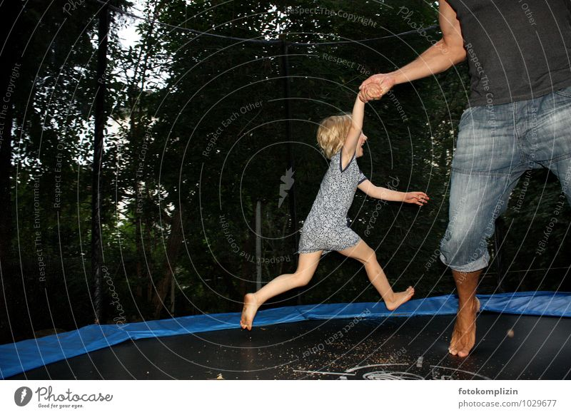 bouncy jump Life Playing Hop Jump Garden Trampoline Child Man Adults Infancy Movement To fall Together Joy Happy Happiness Joie de vivre (Vitality) Trust