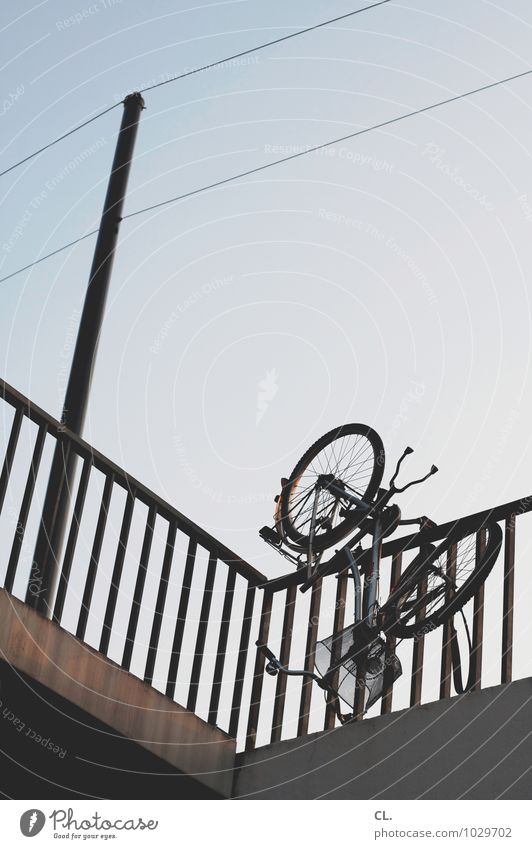 wheel upside down Environment Sky Cloudless sky Beautiful weather Transport Means of transport Traffic infrastructure Cycling Lanes & trails Bridge Bicycle