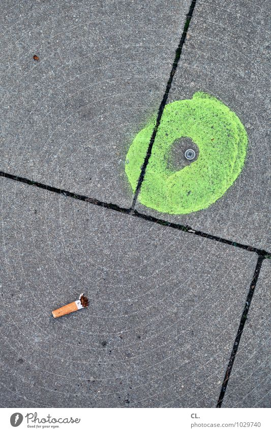 look down Smoking Street Lanes & trails Cigarette Cigarette Butt Ground Line Circle Signs and labeling Gray Green Colour photo Exterior shot Deserted Day