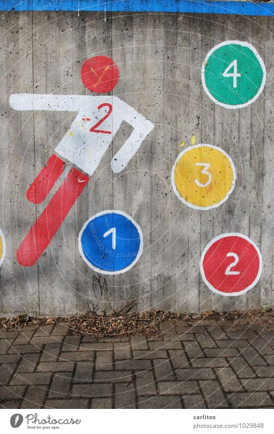 Football by numbers Wall (building) Graffiti Digits and numbers 1 2 3 4 Shoot Playing Red Blue Green Yellow White Concrete