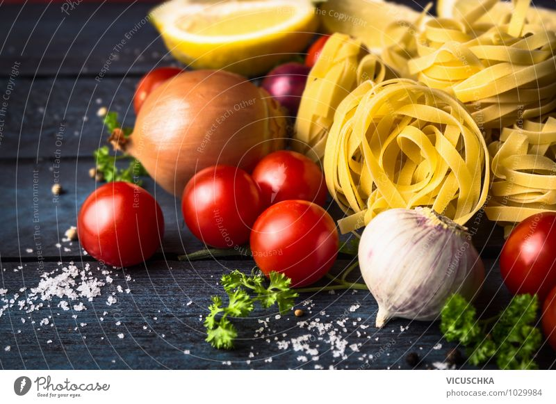 Tagliatelle ribbon noodles with tomatoes Food Vegetable Dough Baked goods Herbs and spices Nutrition Lunch Banquet Italian Food Lifestyle Style Design