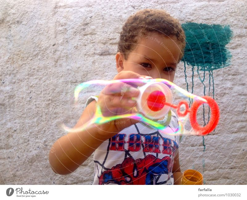 BubbleBoy Human being Masculine Child Boy (child) Infancy Life Body Face Eyes Arm Hand 1 3 - 8 years Sunlight Summer Beautiful weather Wall (barrier)