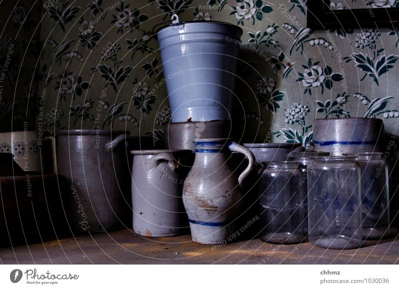 disorder Living or residing Decoration Pot Bucket Preserving jar pitcher Wood Glass Old Blue Gray Violet Clay Earthenware Water jug Historic Ancient Household