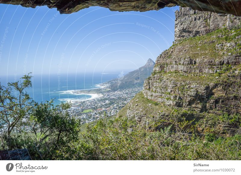 317 Vacation & Travel Trip Far-off places Freedom Summer Ocean Mountain Landscape Cloudless sky Rock Coast Lakeside Bay Cape Town South Africa Port City