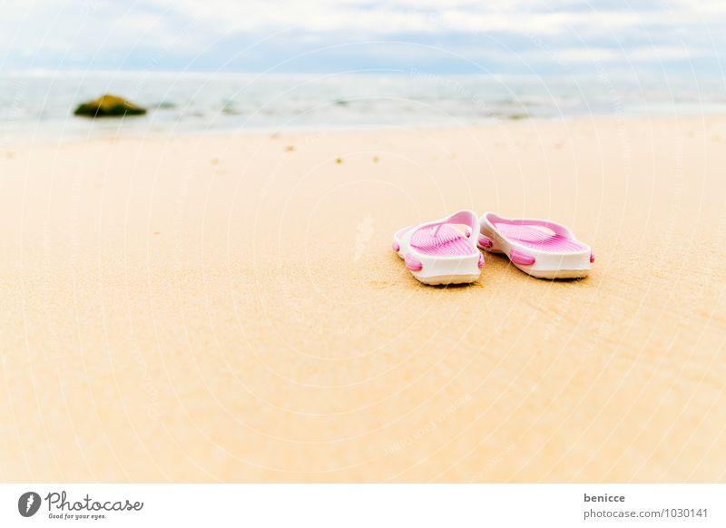 Finally on the beach again Flip-flops Sun Beach Sand Ocean Coast Asia Bali Indonesia Vacation & Travel Sandal Pink Deserted Travel photography Summer vacation