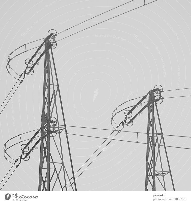 management tasks Technology Advancement Future Energy industry Elements Sky Winter Fog Sign Ease Electricity pylon Conduct Steel cable Black & white photo