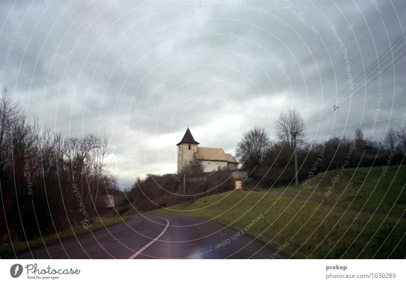 Church in the village Lifestyle Vacation & Travel Sightseeing Landscape Sky Clouds Bad weather Wind Tree Grass Hill Village Street Lanes & trails Driving Retro