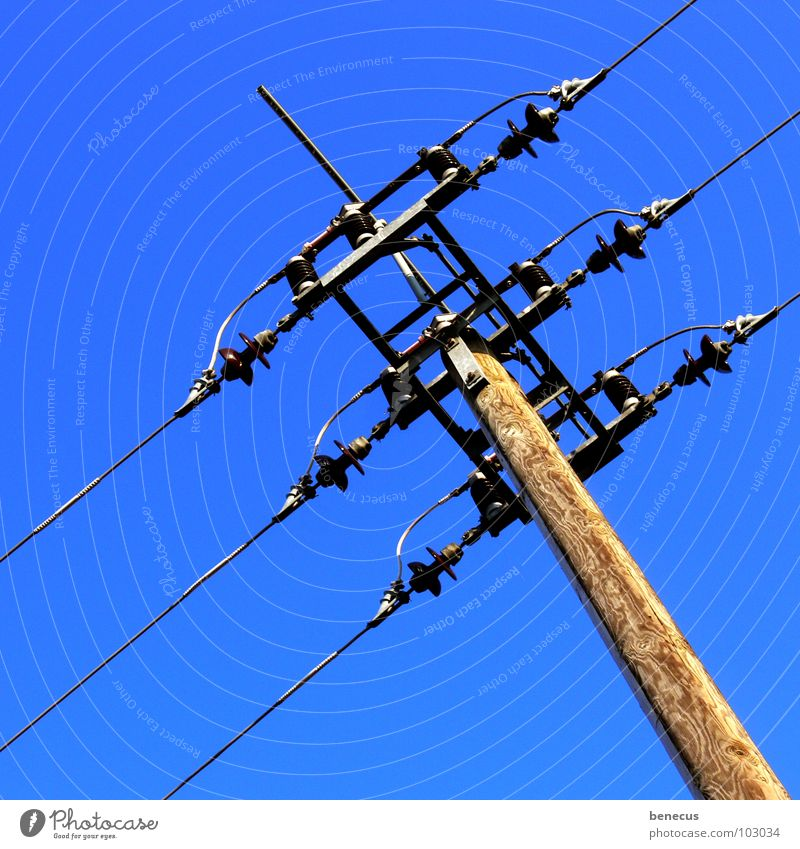 connection Electricity Electricity pylon Wire Wire cable Wood Upward Electrical equipment Infrastructure Infinity Technology Cable streams Connection Sky