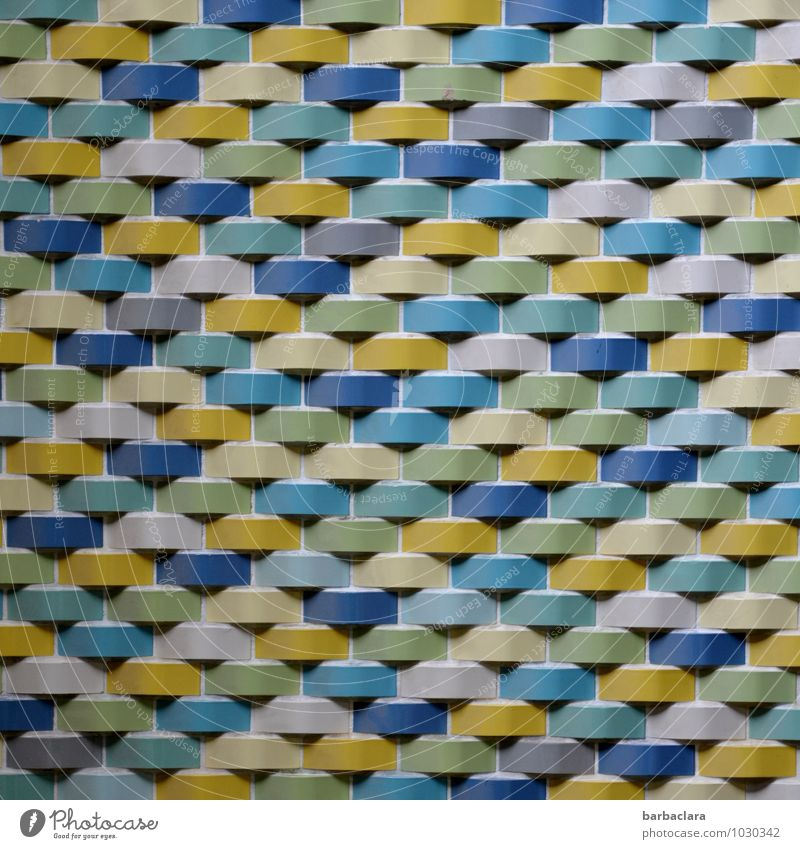 retro wall Swimming pool Building Wall (barrier) Wall (building) Facade Decoration Stone Line Stripe String Old Retro Multicoloured Design Colour Art Senses