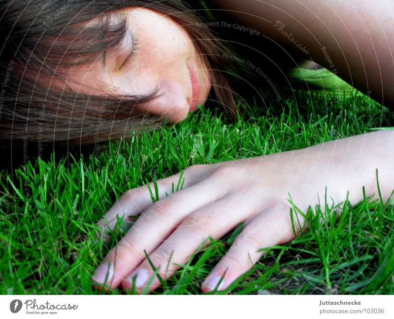 Human being Nature Hand Youth (Young adults) Face Emotions Grass Garden Hair and hairstyles Contentment Fingers Sleep Safety Lawn Break Near