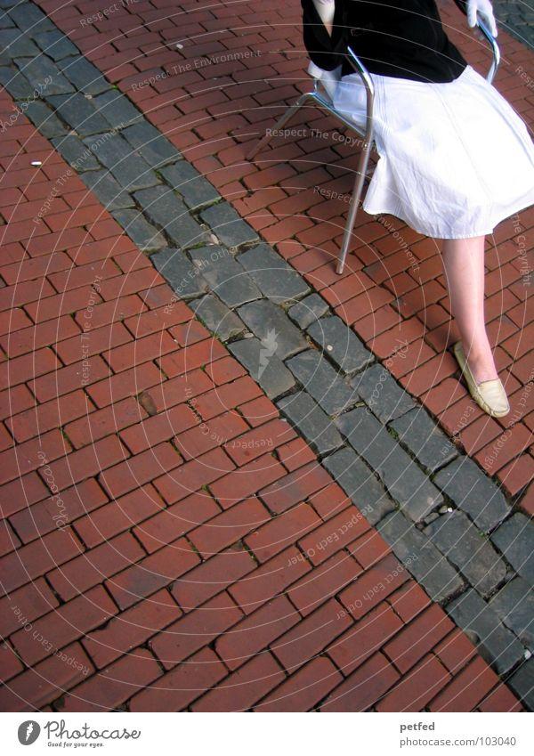 Woman Human being Hand White Red Black Feminine Street Emotions Gray Stone Sadness Think Legs Feet Footwear