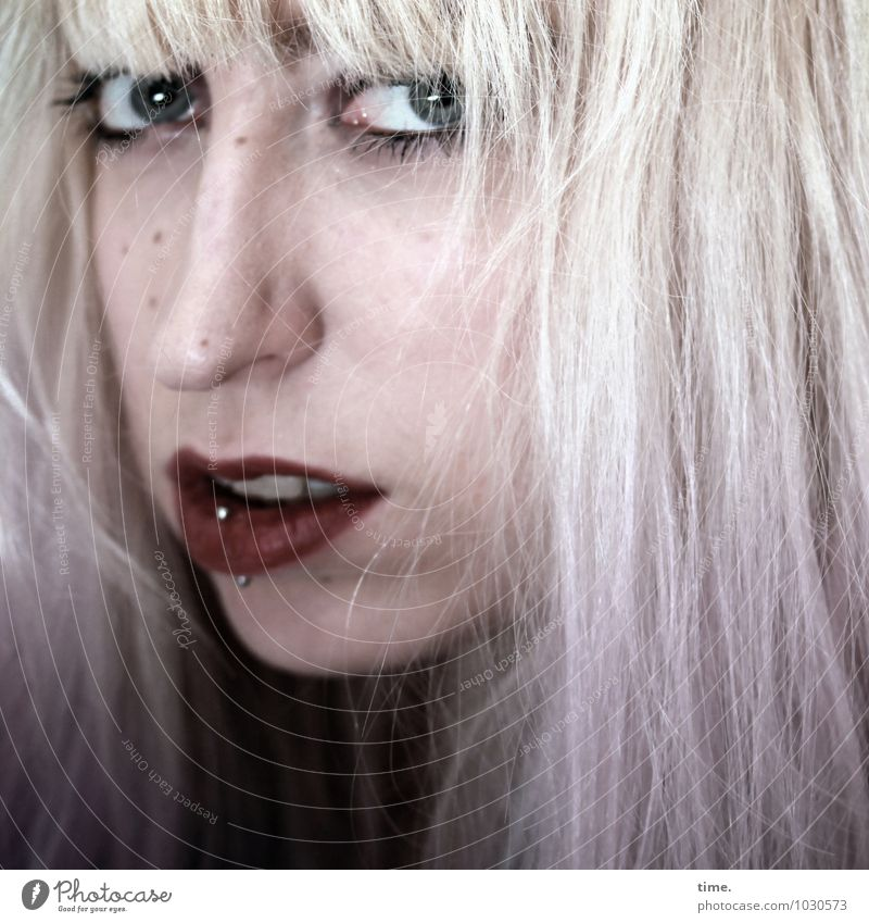 . Feminine Young woman Youth (Young adults) 1 Human being Piercing Blonde Long-haired Bangs Punk Colouring Observe Looking Wait Authentic Beautiful Original