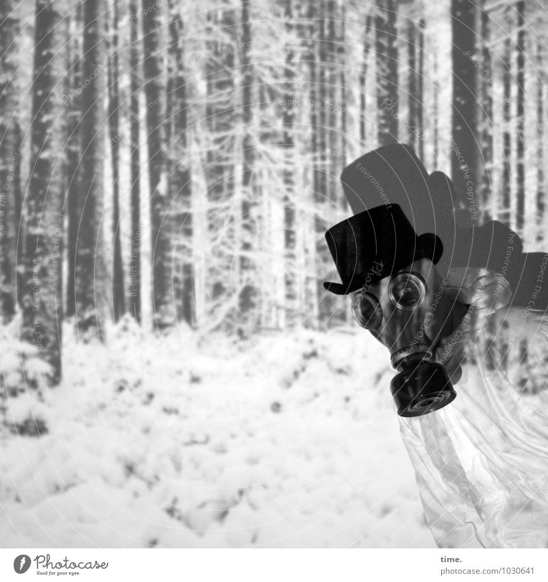 local film Masculine 1 Human being Artist Stage play Actor Light art Winter Snow Forest Working clothes Respirator mask Top hat Observe Looking Curiosity Crazy