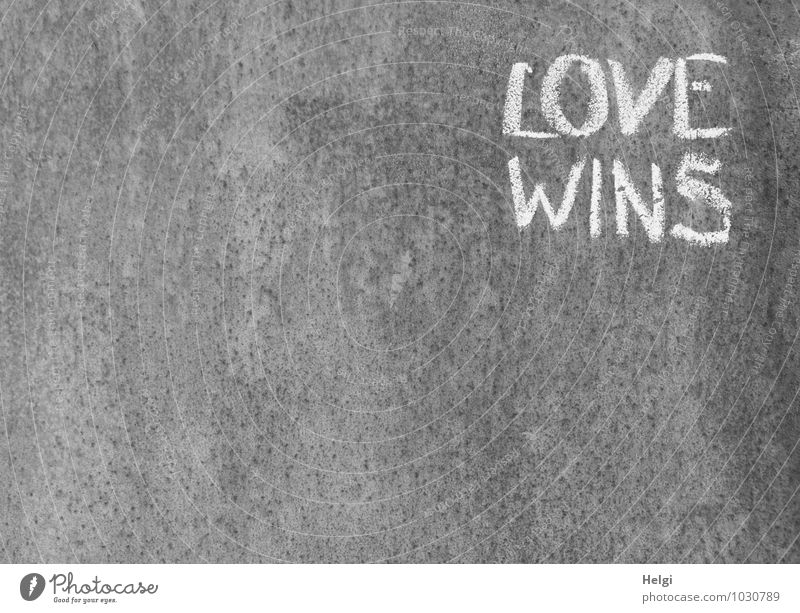 Love wins... Wall (barrier) Wall (building) Metal Characters Communicate Write Exceptional Simple Uniqueness Gray White Emotions Wisdom Experience Creativity