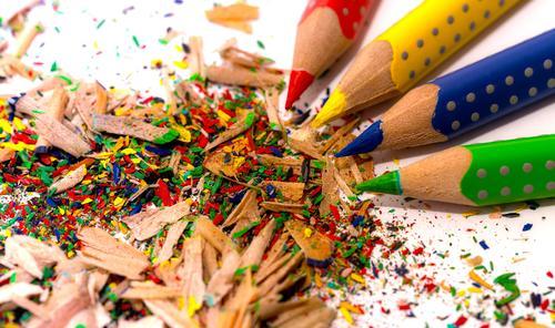 Coloured pencils Handicraft Parenting Education Kindergarten Study Workplace Office Art Painter Environment Paper Piece of paper Pen Wood Point Blue