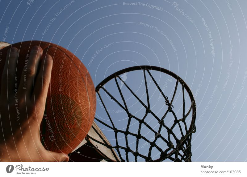Clear the way! Hand Basket Basketball basket Red Broken Long Touch Strike Playing Exciting Jump Result Ball sports Munky darkening Sky Blue Net Shadow repair