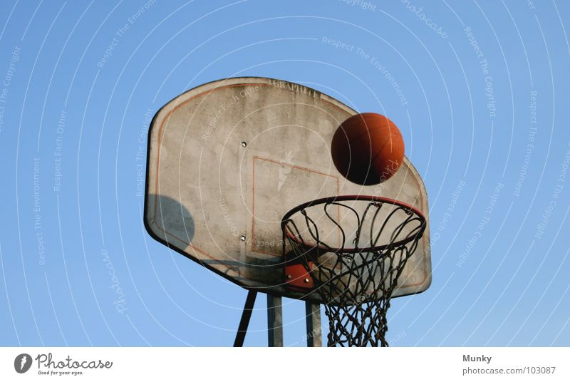 Another Hit (II) Basketball basket Red Jump Erratic Dirty Touch Strike Playing Exciting Result Clouds Ball sports Munky Sky Blue Clarity Beautiful weather