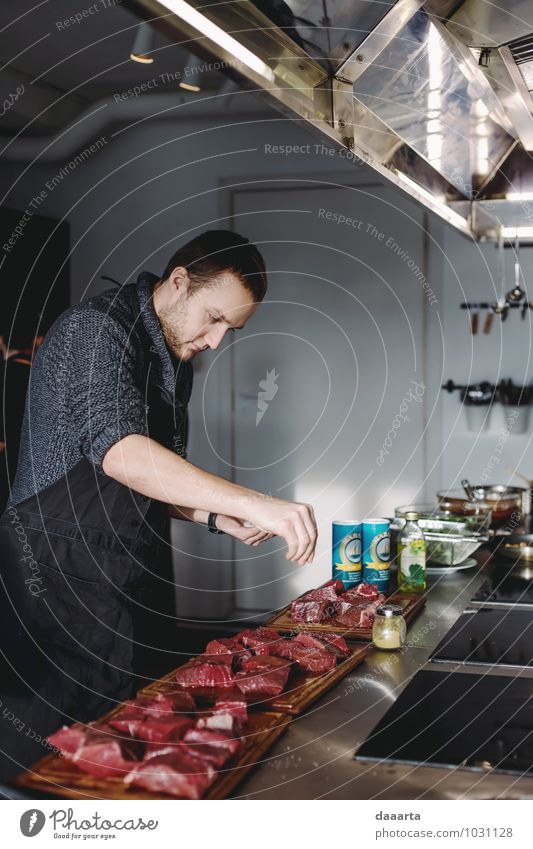 man in kitchen Food Meat Herbs and spices Nutrition Eating Lifestyle Joy Harmonious Relaxation Leisure and hobbies Table Kitchen Entertainment Restaurant