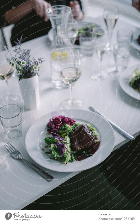 dinner Food Meat Vegetable Lettuce Salad Nutrition Eating Beverage Cold drink Wine Plate Cutlery Knives Fork Lifestyle Elegant Style Design Joy Harmonious