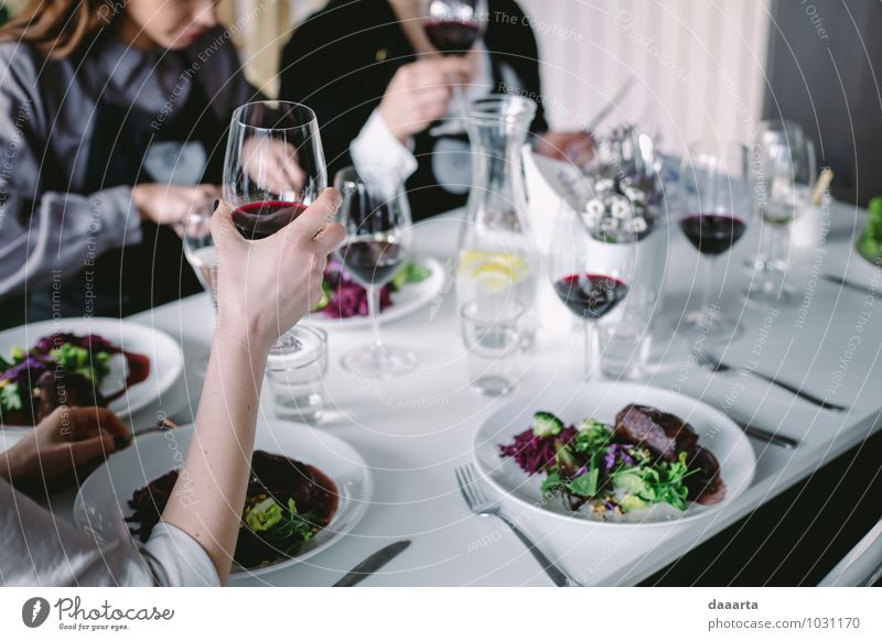 cheers moment Food Meat Vegetable Lettuce Salad Nutrition Eating Beverage Lemonade Wine Plate Bottle Glass Cutlery Lifestyle Elegant Style Design Joy Harmonious