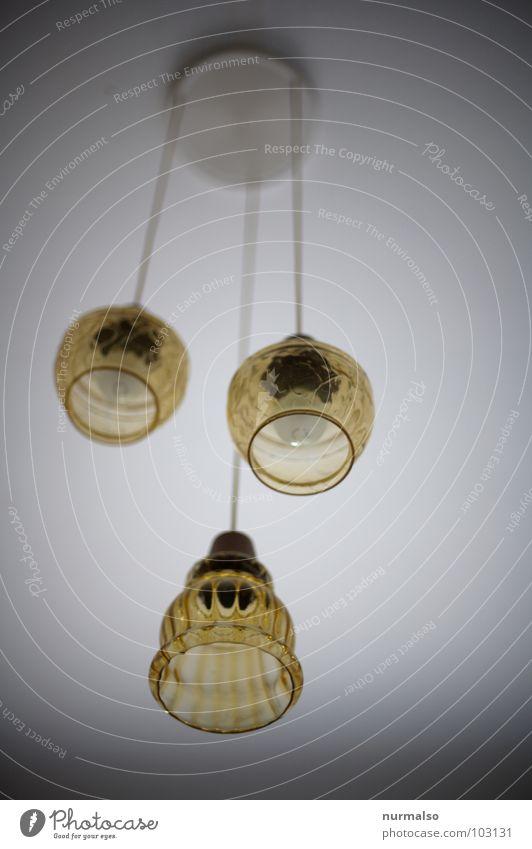 Old Lamp Brown Glass 3 Electricity Historic GDR Transparent Equal Nostalgia for former East Germany