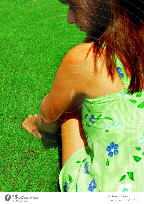 Woman Flower Green Summer Joy Playing Grass Garden Dream Think Sit Sweet Romance Peace Dress Thought