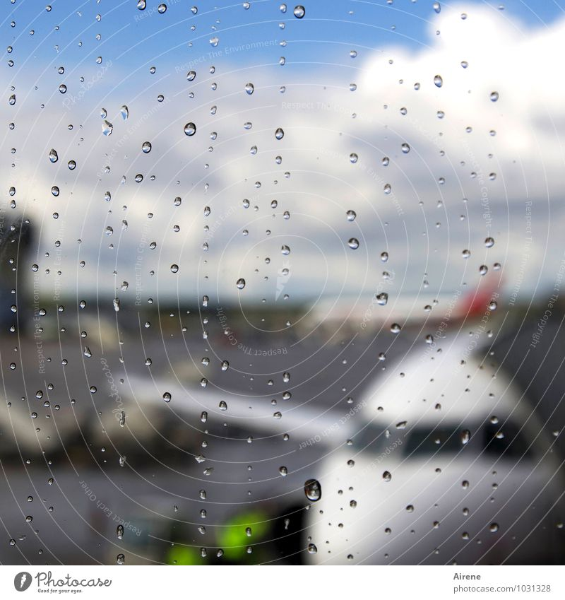 fly the flag Vacation & Travel Drops of water Rain Aviation Airplane Airport Airfield Airplane landing Airplane takeoff Departure lounge View from the airplane