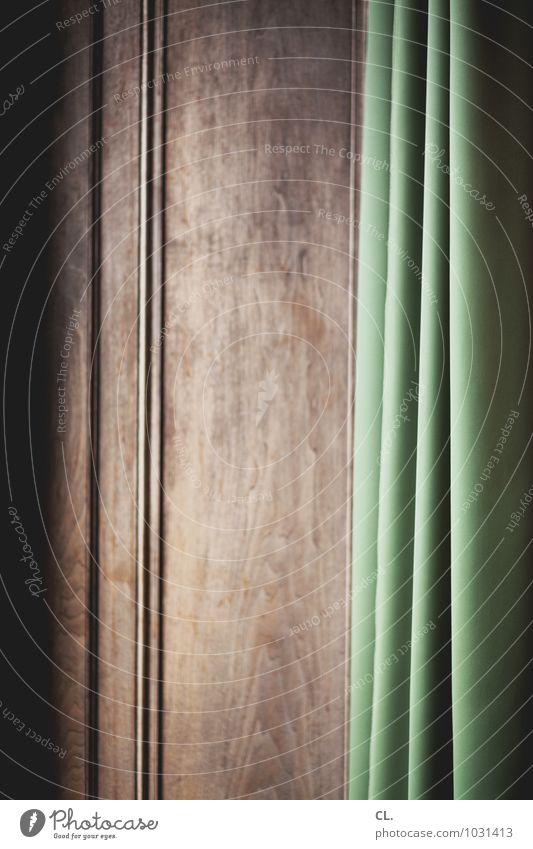 curtain Living or residing Interior design Decoration Drape Cloth Wrinkles Folds Wooden wall Brown Green Colour photo Interior shot Abstract Deserted Day