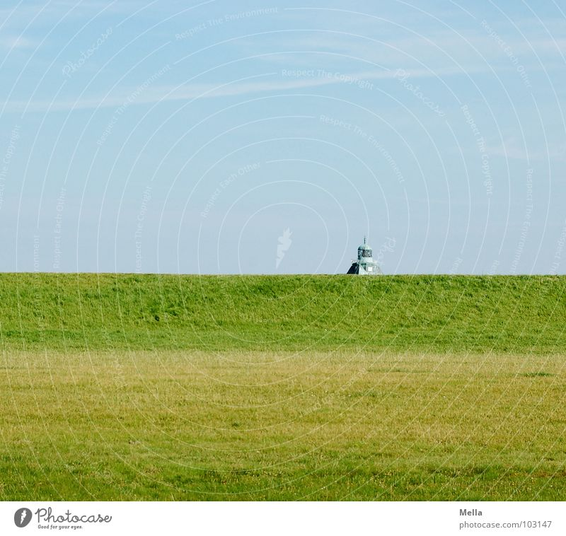 Sky Green Blue Summer Grass Building Background picture Lawn Roof Point Hide Behind Hiding place Dike Cover Neuwerk