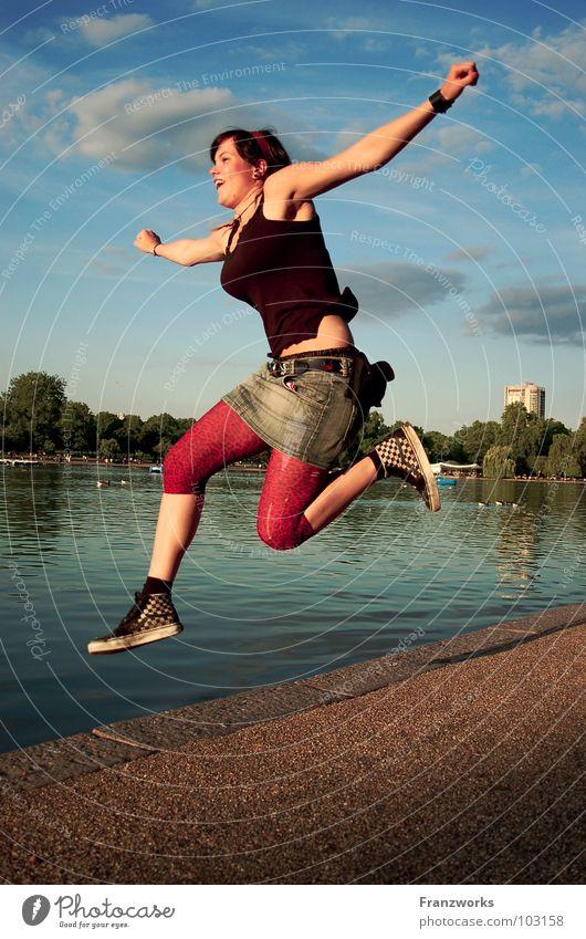 Woman Water Sky Feminine Jump Freedom Happy Lanes & trails Lake Air Power Funny Walking Flying Force