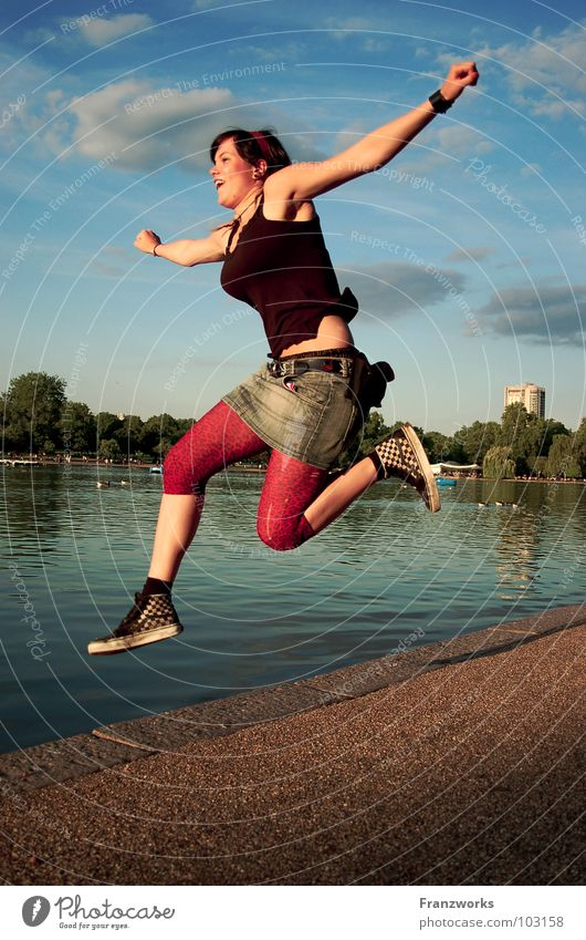 Woman Water Sky Feminine Jump Freedom Happy Lanes & trails Lake Air Power Funny Walking Flying Free Force