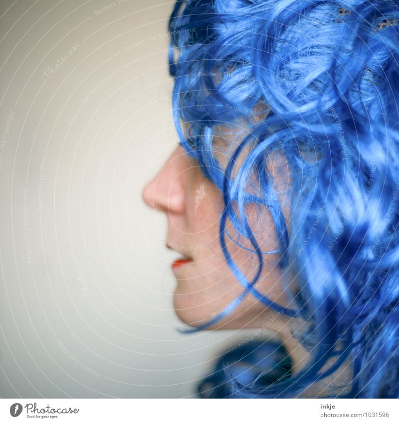 Human being Woman Blue Colour Joy Adults Face Life Emotions Funny Hair and hairstyles Feasts & Celebrations Party Lifestyle Leisure and hobbies Carnival