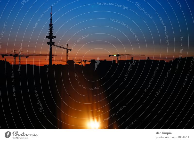 Good morning, sunset. Economy Construction site Cloudless sky Beautiful weather Hamburg Town Port City Populated House (Residential Structure) Tower Telemichel