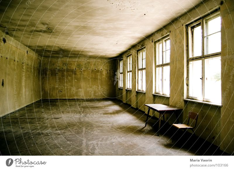 detention Table Loneliness Empty Window Gloomy Forget Cold Light Shaft of light On detention Deserted Dark Derelict Transience Furniture Bench Chair Room left