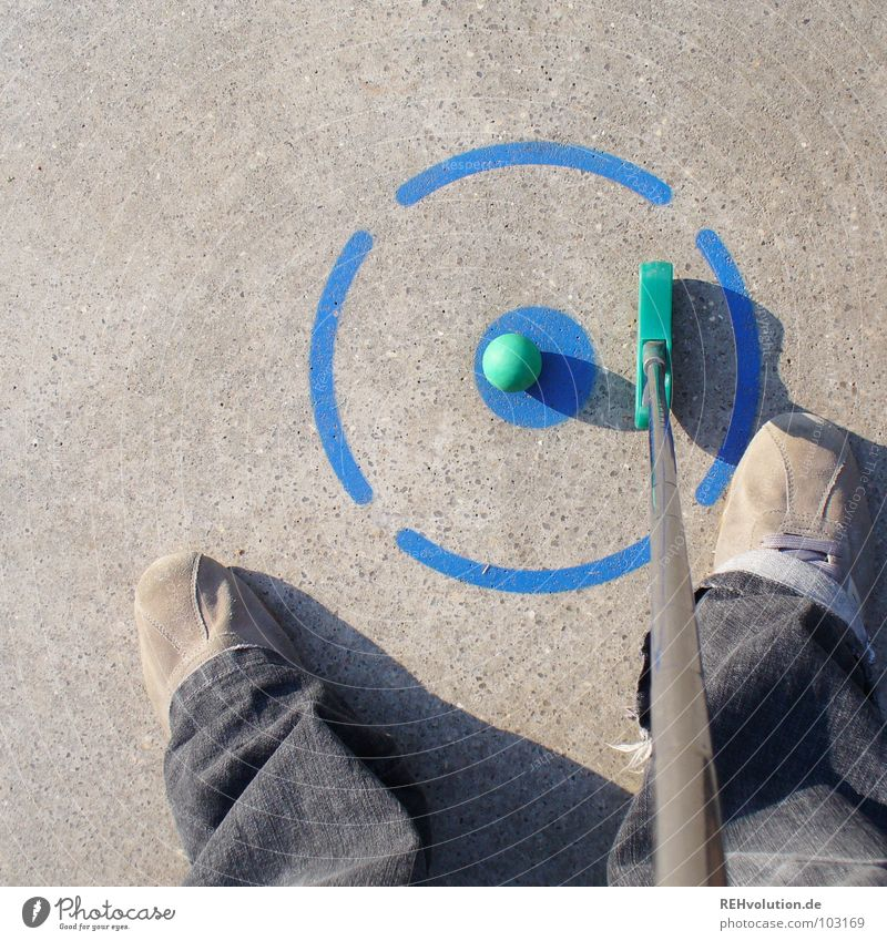 good aim is half sunk! Mini golf Golf ball Playing Summer Gray Leisure and hobbies Round Sporting event Success Lose Loser Write Tee off Aim Past Edge Corner