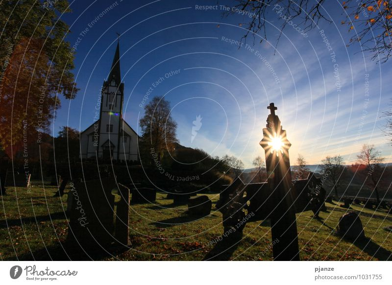 halo Contentment Vacation & Travel Architecture Landscape Cloudless sky Sunlight Autumn Tree Grass Hill Fishing village Church Dome Discover Dream Blue Yellow