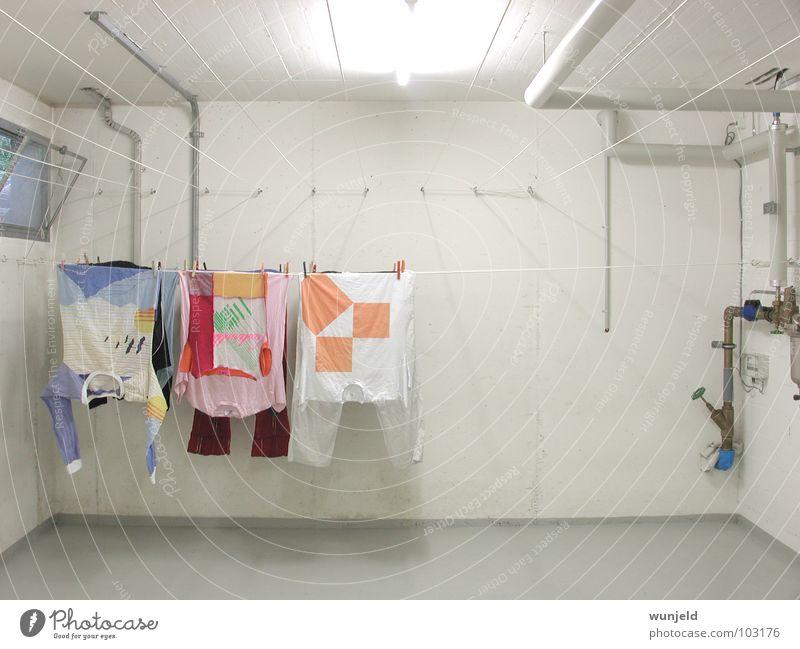 clothesline Washhouse White Cellar Concrete Laundry Clothesline T-shirt Dress Clothes peg Architecture Household technique Room