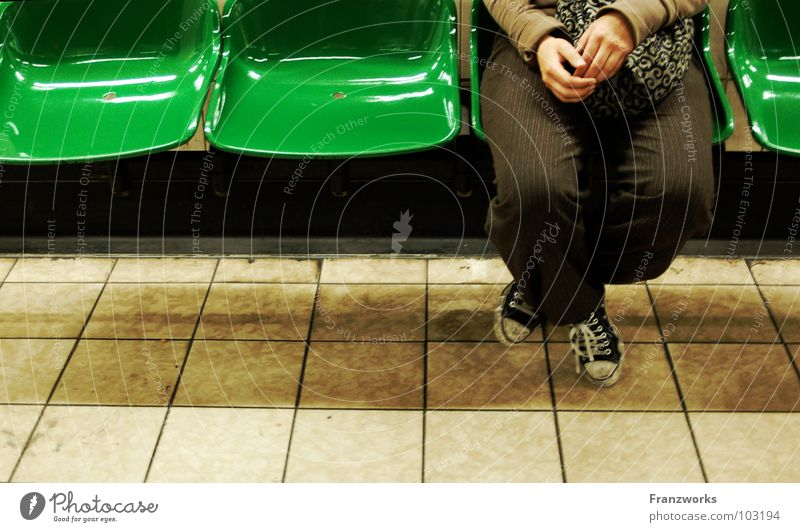 Woman Green Vacation & Travel Loneliness Think Legs Wait Fingers Sit Empty Places Bench Chair Tile Underground Chucks