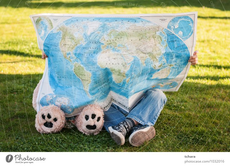 Travelers Vacation & Travel Trip Child Friendship Infancy Feet Grass Jeans Sneakers Paw Toys Teddy bear Globe Green Adventure Bear leg leds paws Children Only