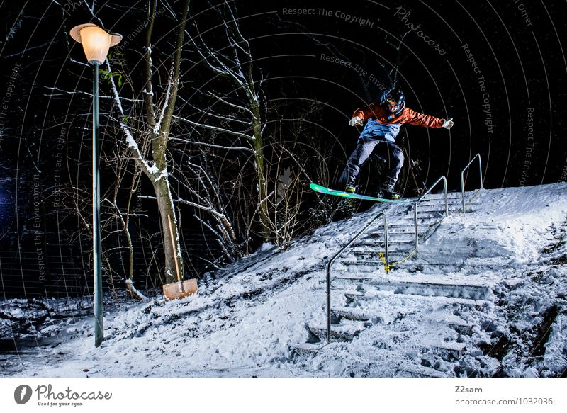 Youth (Young adults) Tree Young man Winter Cold Movement Style Sports Lifestyle Jump Masculine Stairs Leisure and hobbies Fresh Elegant Bushes
