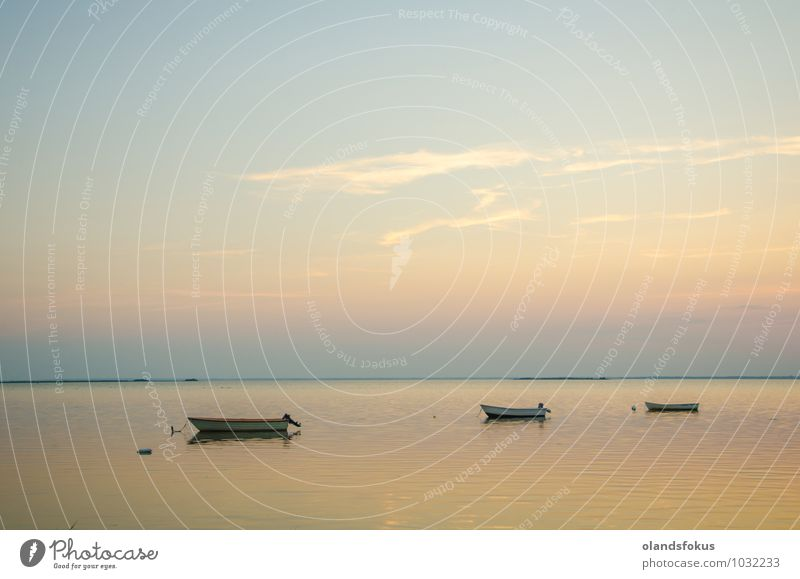 Anchored rowing boats at twilight in a calm bay Sky Nature Old Beautiful Colour White Summer Ocean Landscape Yellow Coast Small Lake Watercraft Soft