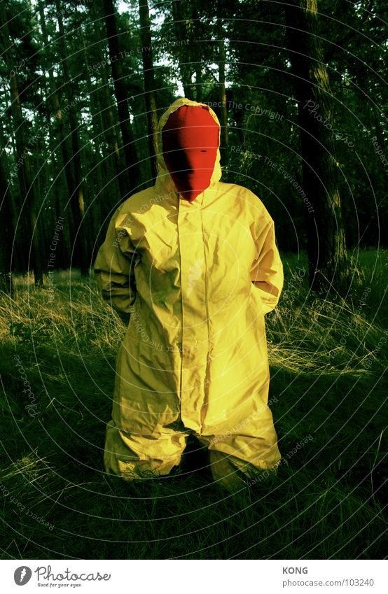 Man Nature Joy Yellow Forest Gray Crazy Grief Mask Transience Suit Distress Knee Gray-yellow Protective clothing
