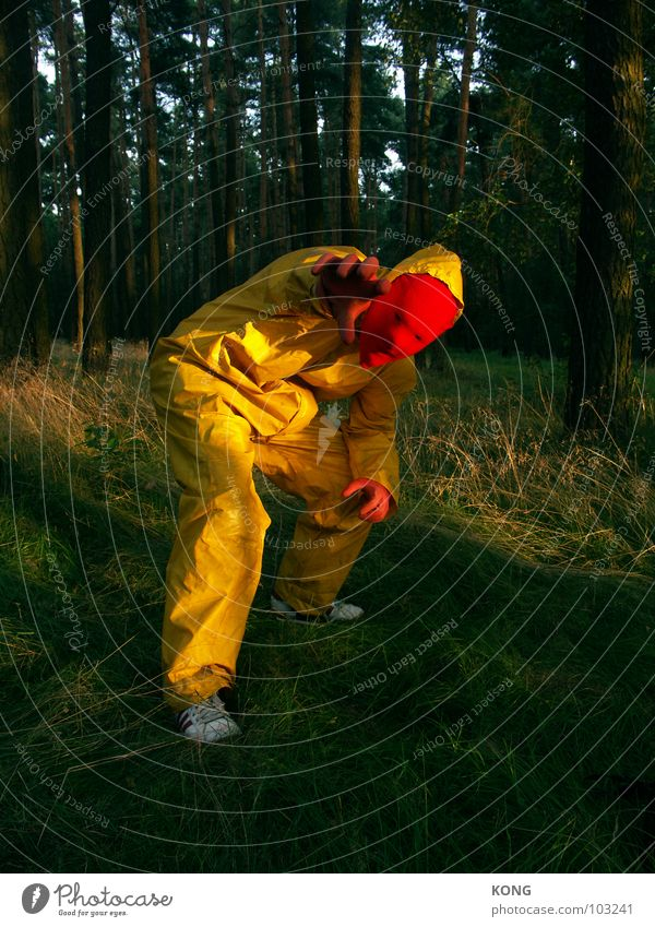 Nature Joy Yellow Forest Gray Crazy Might Mask Concentrate Suit Knee Gray-yellow Protective clothing