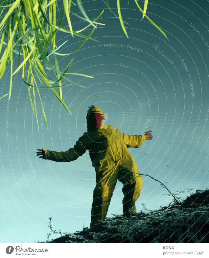 strange planet Yellow Gray Gray-yellow Knee Suit Protective clothing Crazy Surface of water Joy Man deep in the woods deep in the forest Nature grey shrill