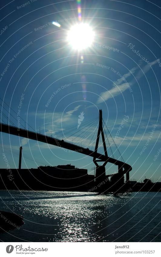Water Sky Sun Blue Calm Clouds Hamburg Bridge River Harbour Elbe Lens flare Pol-filter Kohlbrand bridge