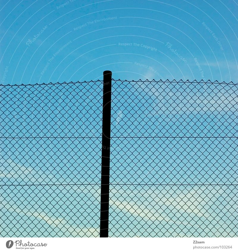 amateur football field Sporting grounds Fence Rod Sky Clouds Simple Graphic Wire netting fence Loop Plaited Interlaced Leisure and hobbies Pole Blue Net