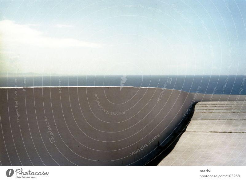 Water Sky White Sun Ocean Summer Wall (barrier) Europe Places Spain Handrail Divide Atlantic Ocean Bend Cape Winding