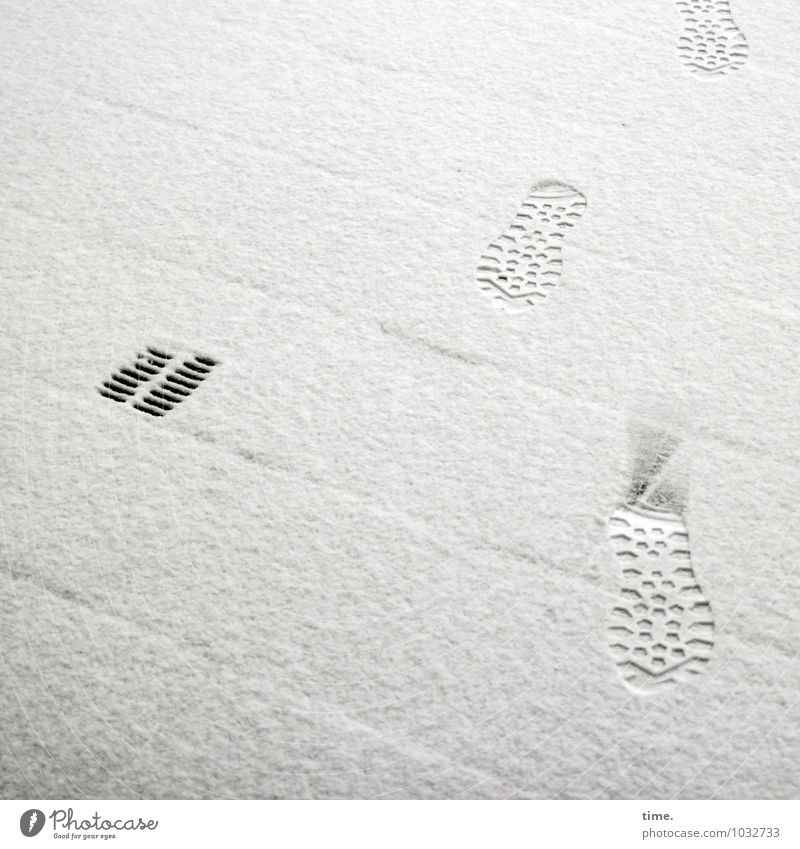 preliminary impression Winter Snow Pedestrian Lanes & trails Bridge Gully Footprint Boots Hiking boots Stone Water Line Stripe Going Truth Respect Movement