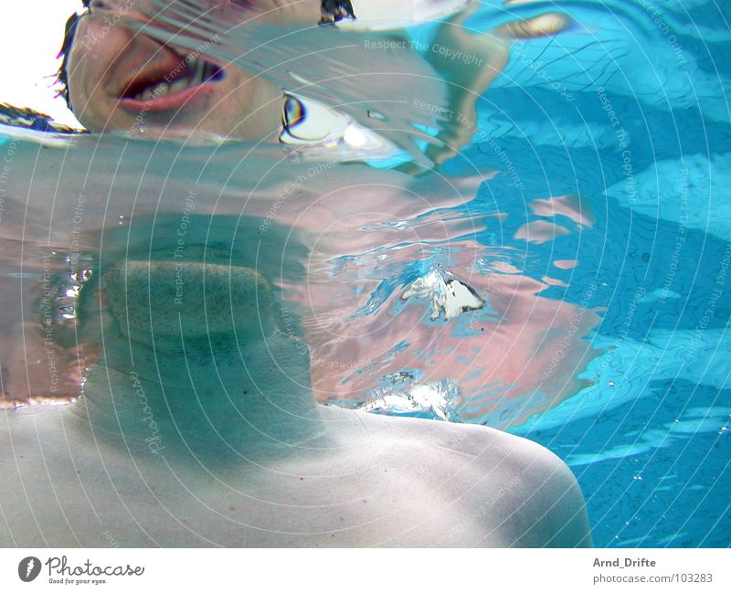 Blue Water Summer Head Swimming pool Bathroom Distorted Portrait photograph Underwater photo