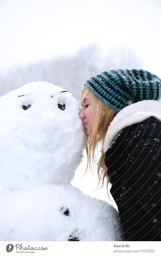 Snow king - that's how happy he is Joy Winter Winter vacation Valentine's Day Feminine Young woman Youth (Young adults) Infancy Adults Head 18 - 30 years